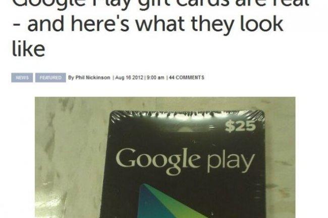 Un specimen de carte prépayée de 25$ valable sur Google Play. Crédit D.R.