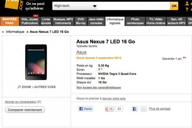 249 euros pour la tablette Nexus 7 de Google