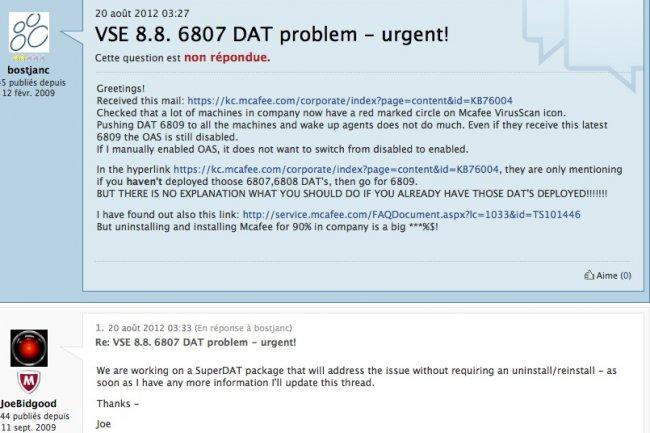 McAfee paralyse ses antivirus avec 2 mises à jour buggées