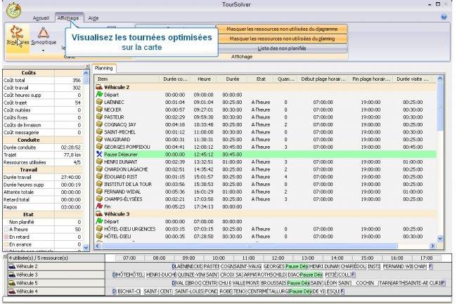 Le logiciel TourSolver sert à optimiser la gestion des plans de tournée. Son éditeur Opti-Time rejoint le spécialiste de l'information géographique GeoConcept. (cliquer sur l'image pour l'agrandir)