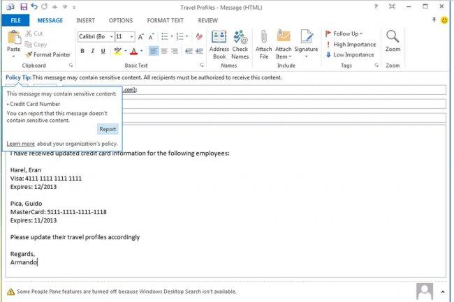 Les fonctions DLP ajoutées par Microsoft à Exchange 2013 automatisent la surveillance des contenus sensibles suivant des règles préétablies. Ci-dessus, un message d'avertissement indique à l'utilisateur d'une possible violation de la politique de contrôle mise en place. (crédit : Microsoft / cliquer sur l'image pour l'agrandir).