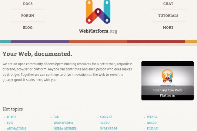 Le site Web Platform Doc du W3C Crédit Photo:D.R