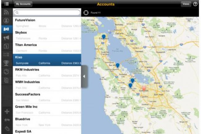 Un service d'intégration dans le cloud est disponible en option, pour l'instant seulement pour l'application Customer OnDemand de SAP (ci-dessus).
