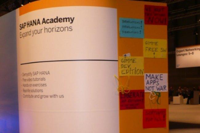 Sur TechEd 2012 Madrid, SAP cherchait à attirer les développeurs sur sa plateforme in-memory accessible depuis trois semaines sur AWS. (crédit : M.G.)