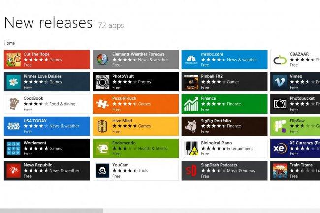 Plus de 20 000 applications dans la boutique Windows 8, la plupart gratuites