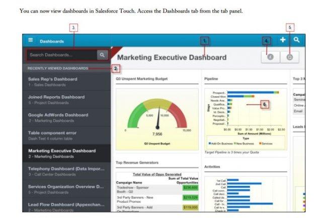 Avec la mise à jour Spring'13 du logiciel Salesforce, il sera possible de visualiser des tableaux de bord dans Salesforce Touch. (cliquer sur l'image pour l'agrandir)