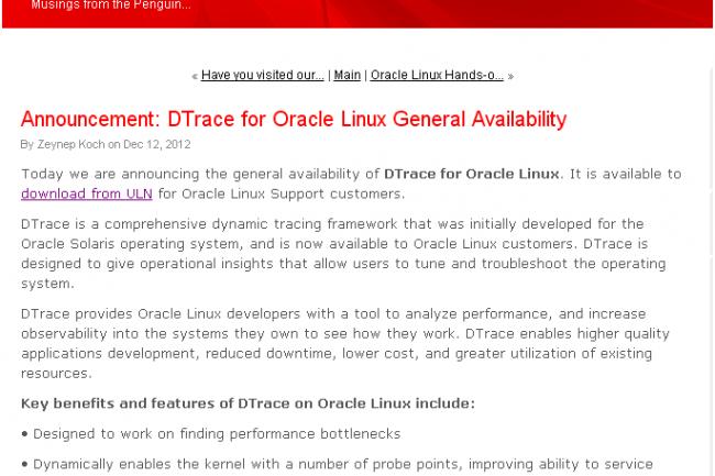 Oracle propose aux utilisateurs d'Unbreakable Linux Network de télécharger l'outil DTrace.
