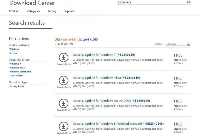 Pour appliquer le correctif plus vite sans attendre la mise à jour automatique, Microsoft le propose au télécharger. (cliquer sur l'image)