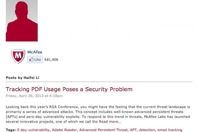 Le chercheur de Mcafee suggère que le problème pourrait être utilisé pour la phase de reconnaissance généralement effectuée par les hackers avant de lancer des APT.