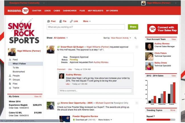 En utilisant Communities, les clients de Salesforce.com peuvent cr�er des RSE et �tablir des liens avec leurs partenaires. Cr�dit: D.R