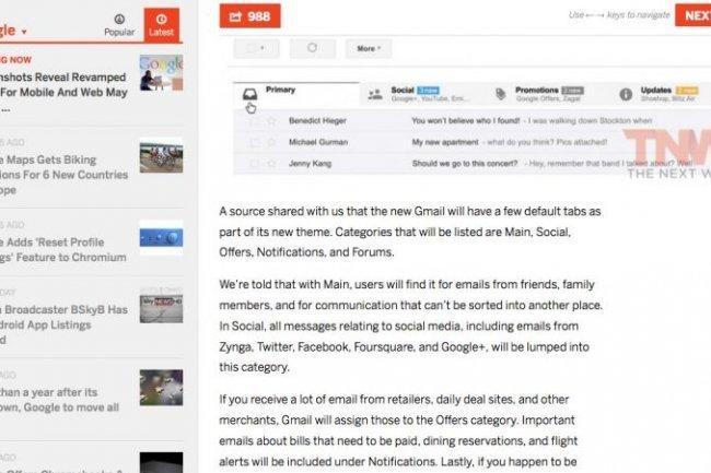 Une nouvelle boite de r�ception pour Gmail avec des onglets