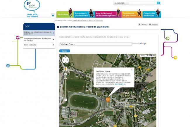 Pour son application GazMaps, le réseau GRDF exploite la cartographie de Google pour afficher son réseau (cliquer sur l'image).