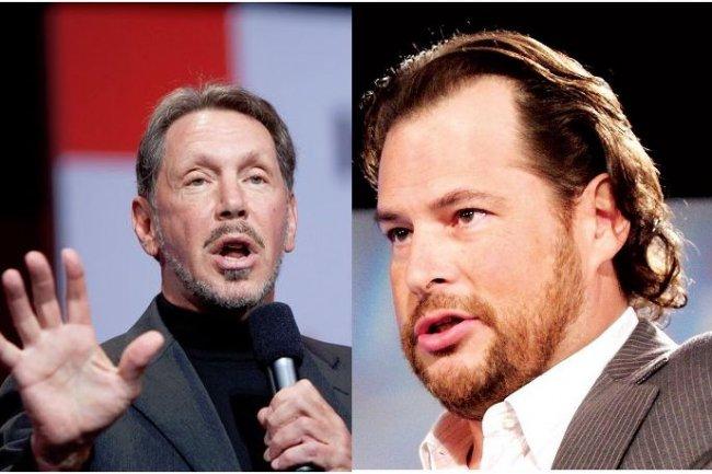Larry Ellison, CEO d'Oracle (� gauche), et Marc Benioff, CEO de Salesforce.com, ont arr�t� leurs joutes verbales pour signer un accord technologique de 9 ans. (cr�dit : D.R.)