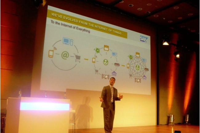 Steve Lucas, vice président exécutif de SAP, responsable de la division Business Analytics, Database & Technology, ce matin à Paris. (crédit : MG)