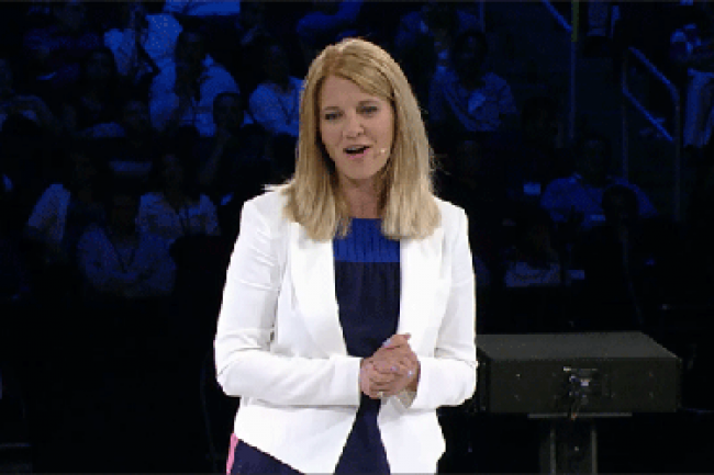 Tami Reller, directrice marketing de Microsoft, a annoncé la livraison fin août de Windows 8.1 aux constructeurs de PC Crédit Photo : D.R