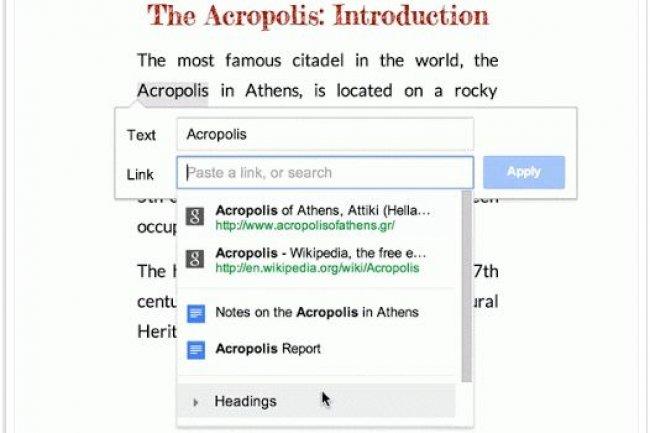 Dans Google Drive, l'outil hypertexte fait maintenant des suggestions (sites officiels, fiches Wikipedia, favoris, documents Drive...) en lien avec le mot surlign�.
