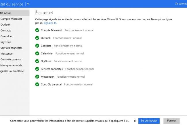 Microsoft propose une page pour v�rifier la disponibilit� de ses services Office 365.