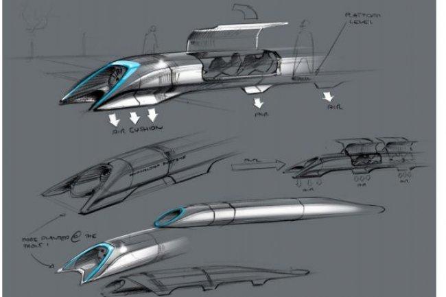 L'Hyperloop sur coussins d'air imaginé par Elon Musk, CEO de Spacex. (crédit : Spacex)