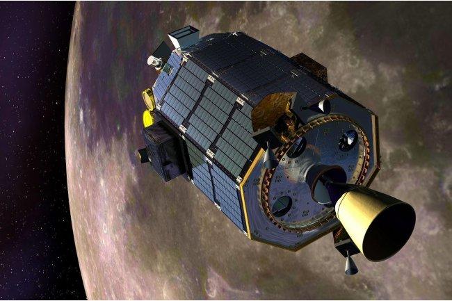 Le vaisseau LADEE de la Nasa, conceptualis� de fa�on artistique, en orbite autour de la Lune (cr�dit photo : NASA Ames / Dana Berry). Cliquer sur l'image.