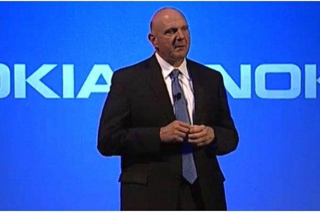 Steve Ballmer, CEO de Microsoft, ce matin à Espoo, en Finlande, lors de la conférence annonçant le rachat de l'activité mobile de Nokia. (Crédit : Martyn Williams/IDG NS)