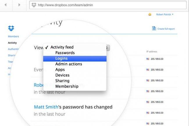 Dropbox for Business permet aux utilisateurs de générer des documents  à partir de la console d'administration. Crédit: D.R