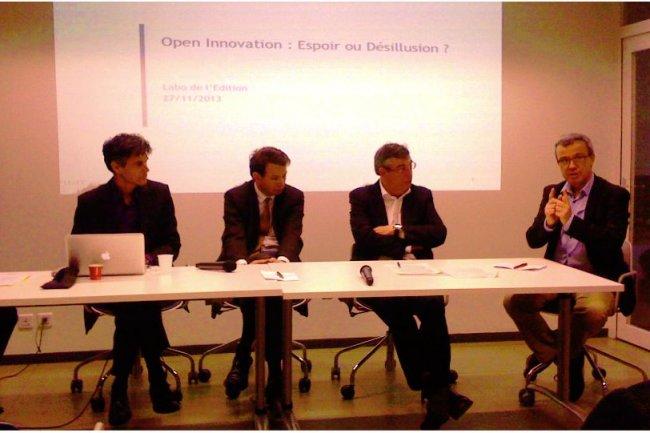 De droite à gauche, Christian Travier, de Laval Mayenne Technopole, Jean-Luc Beylat, de Bell Labs France, et Bernard Scherrer, d'EDF. Hors champ, Jean-Louis Liévin (cliquer sur l'image / Crédit : LMI)