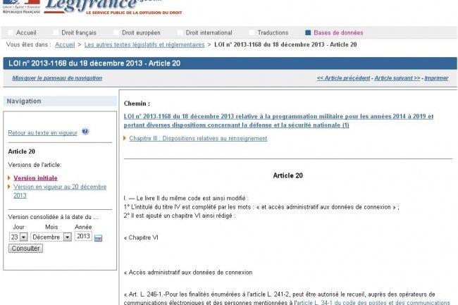 Site Web application de la Loi