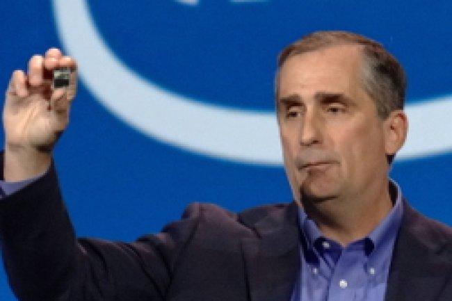Brian Krzanich, CEO d'Intel, a présenté un micro PC nommé Edison et adapté pour les vêtements connectés. Crédit Photo: James Niccolai, IDG NS San Francisco