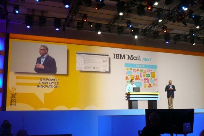 Jeff Schick,  vice-pr�sident de l'activit� Social Software, annonce la prochaine version de la messagerie d'IBM, qui g�rera les priorit�s. (photo : LMI)