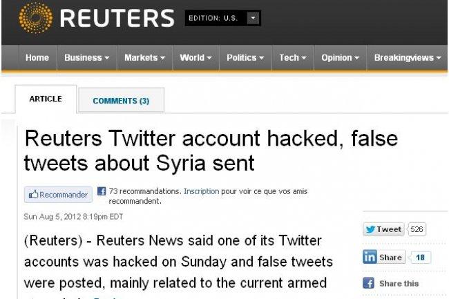 Après le piratage de la plateforme de blogging de Reuters, l'agence de presse s'est fait piraté son compte Twitter (crédit : D.R.)