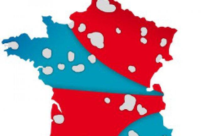 La carte du d�coupage de la mutualisation des r�seaux de SFR et Bouygues Telecom. Cr�dit Photo: D.R