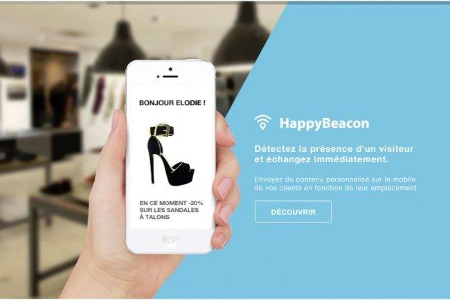 Avec HappyBeacon, la start-up lyonnaise Happy Newco envoie des alertes sur les smartphones des clients en magasin.