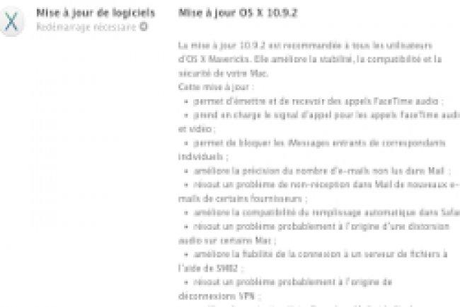 Apple a publié Mac OS X 10.9.2 comprenant le correctif de sécurité sur la faille SSL. Crédit Photo: D.R