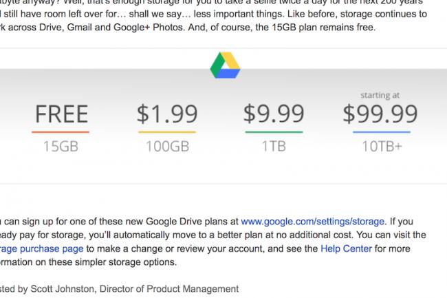 Google facture désormais 9,99$ par mois les 1 To de stockage en ligne.