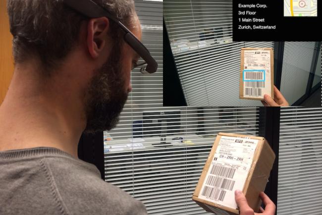 De nombreux usages pro sont développés pour les Google Glass comme ici le support à la livraison. Crédit D.R.