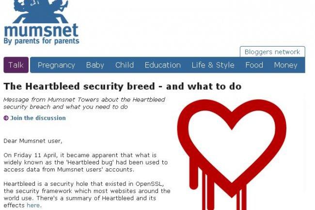 Au Royaume Uni, le site parental Mumsnet a été attaqué via la vulnérabilité Heartbleed.
