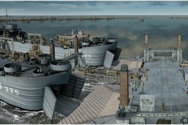 Panoramique du port d'Arromanches en 3D. (crédit : Dassault Systèmes / Cliquer pour agrandir l'image)