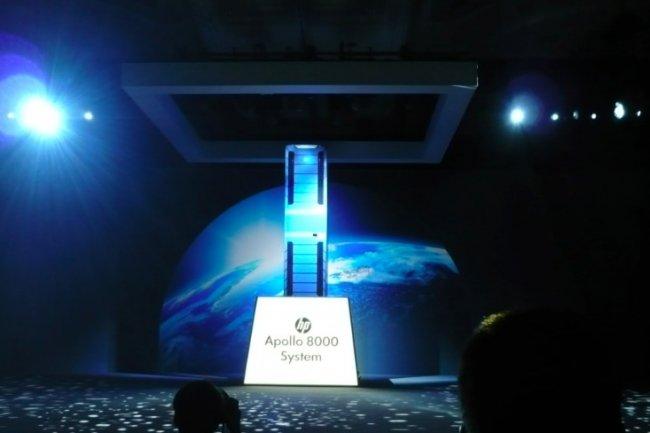 Le système HPC Apollo 8000 présenté par HP sur Discover 2014 exploite des processeurs Xeon E5 d'Intel. (crédit : LMI)