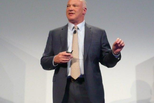 David Scott, DG de l'activité stockage de HP, garantit une disponibilité des données de 99,9999% sur la baie 100% flash StoreServ 7450. (crédit : LMI)