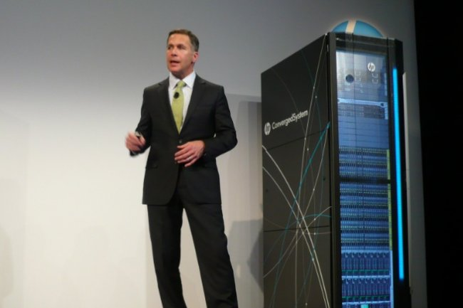 Sur Discover 2014, à Las Vegas, Tom Joyce, directeur général de l'activité Systèmes convergés, livre les dernières évolutions de l'offre :  pilotage via OneView et systèmes pré-intégrés dans le domaine analytique avec Microsoft, SAP et l'offre Vertica de HP. (crédit : LMI).