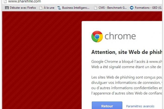 Le site de phishing www.sharefille.com est bloqué automatiquement par la plupart des navigateurs web. (crédit : D.R.)