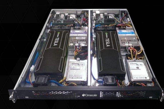 La plateforme de développement RM1905D de Cirrascale intègre 2 CPU ARM 64 et 2 GPU Tesla K20.  (cliquer sur l'image pour l'agrandir)