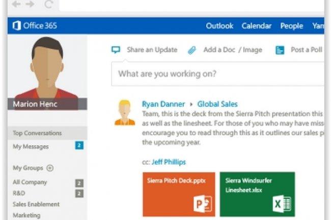 Microsoft poursuit sa stratégie d'intégration de Yammer à ses produits Office 365, aux côtés de celles en cours pour SharePoint et Dynamics. (crédit : D.R.)