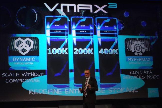 David Goulden, CEO d'EMC  Information Infrastructure lors du lancement des VMAX3 à Londres.