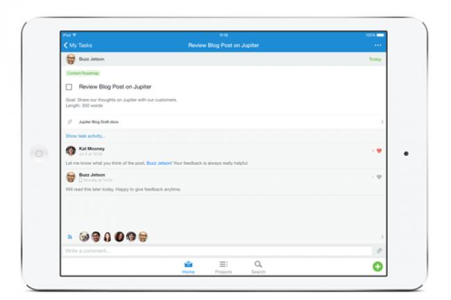 L'app d'Asana pour iOS réplique presque toutes les caractéristiques de la version pour poste de travail.