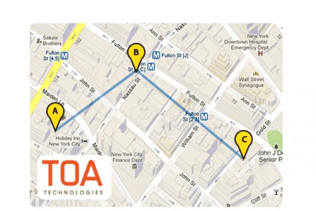 Avec ses algorithmes pointus, TOA calcule les meilleurs itinéraires pour coordonner les déplacements des techniciens. (crédit : D.R.)