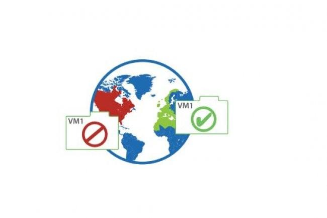 En utilisant CloudControl 4.0, de HyTrust, on peut s'assurer que certaines machines virtuelles ne seront pas déplacées en dehors des frontières d'un pays ou d'une région géographique donnée. (crédit : HyTrust)