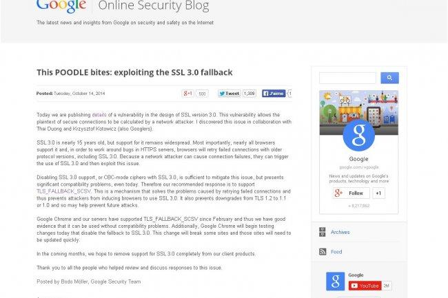L'attaque Poodle démontrée par Google exploite la faille trouvée dans SSL 3.0.