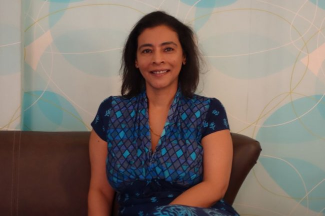 Aruna Jayanthi, CEO de Capgemini India, dans les studios de t�l�vision de Reliance TV � FilmCity, Bombay.