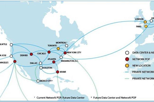 Au moment du rachat par IBM, le réseau de SoftLayer comprenait 13 datacenters. IBM a investi 1,2 Md$ pour l'étendre hors du territoire américain. Après Londres et Hong Kong récemment ouverts, c'est à Paris qu'il s'installe. (cliquer sur l'image)
